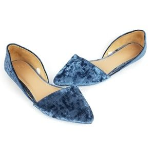 A New Day Blue Velvet D'Orsay Pointy Flats 7.5